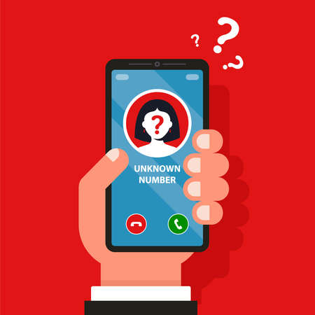 an unfamiliar mobile number is ringing on the phone. flat vector illustration.