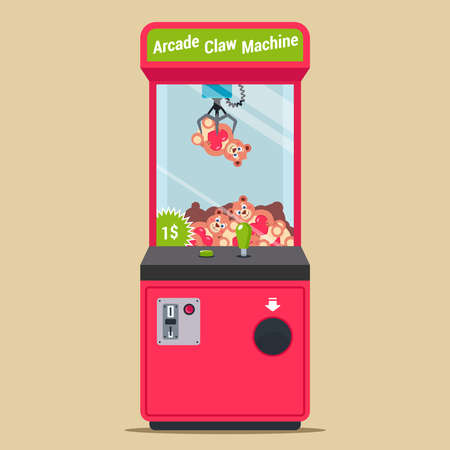 arcade with a hook and plush toys. machine in a shopping center for children. flat vector illustration.