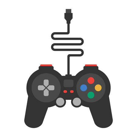 black gamepad with a wire on a white background. flat vector illustration.