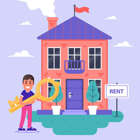 the landlord rents a brick house for rent. flat vector illustration.