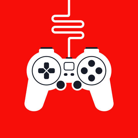 silhouette of a game joystick with wire for computer games. flat vector illustration. Ilustração