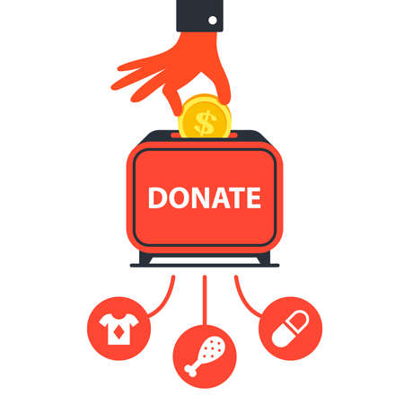 donate money to charitable funds to help people. flat vector illustration Foto de archivo - 138257051