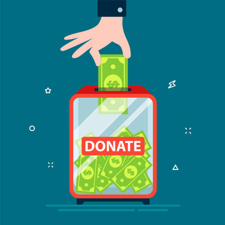 hand puts dollar in donation box. charity from the rich. flat vector illustration.