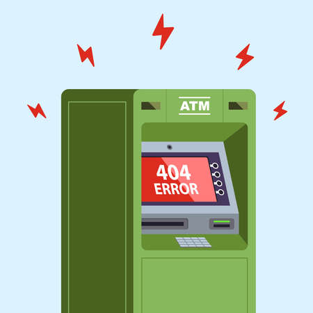 ATM stopped working. error 404 on the monitor. flat vector illustration