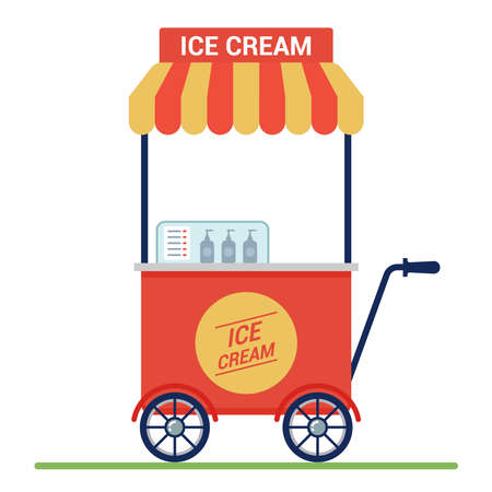 red cart with ice cream on the street. small business. flat vector illustration. Ilustrace