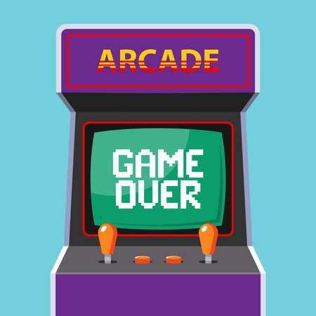 arcade machine in the background. green monitor with the word game over. flat vector illustration Ilustrace