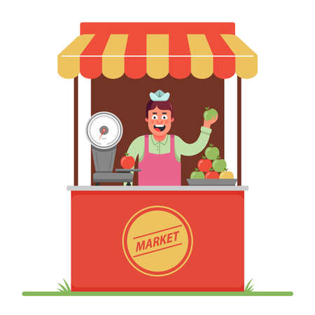 a market seller sells and weighs apples. a small tent in the market. Flat character vector illustration. Stock Illustratie