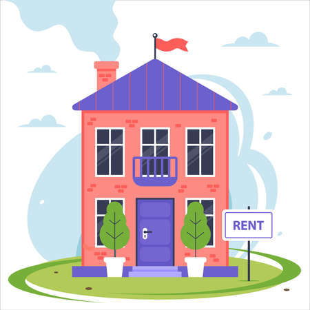new two-story house for rent. flat vector illustration. Stock Illustratie