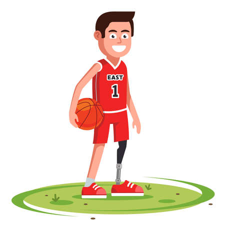 joyful basketball player with a prosthetic leg stands in a clearing. disabled person learns to walk. flat character vector illustration