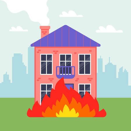 A two-story private house is on fire. fire in the city. flat vector illustration.