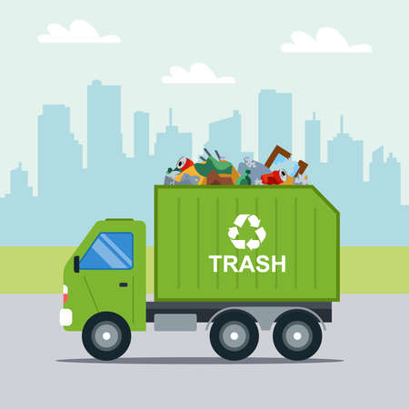 Transportation of municipal waste in a municipal green truck. Illustration