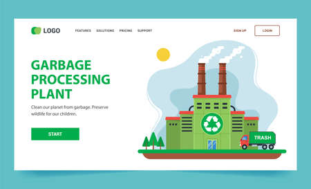 Landing page for recycling. green plant with chimneys and smoke. flat web illustration