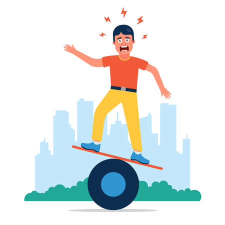 the man is trying to keep his balance, but not learning well. Flat character vector illustration.