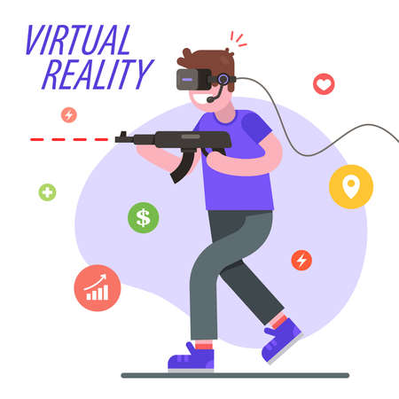 man in virtual reality plays a shooter. Flat character vector illustration.