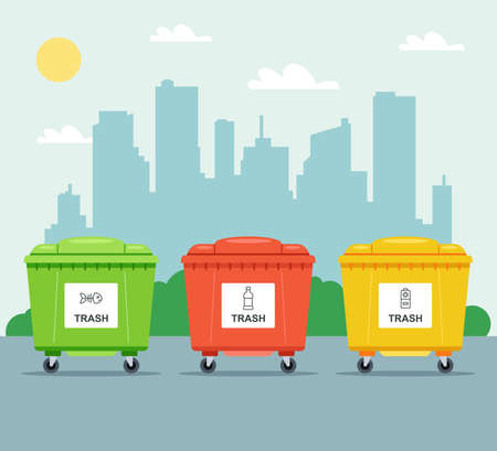 multi-colored bins for separate collection of garbage on the background of the city. flat vector illustration. Ilustrace