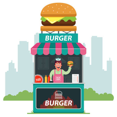 A stall on the street selling burgers against the backdrop of the city. seller offering fast food. flat vector illustration. Illusztráció