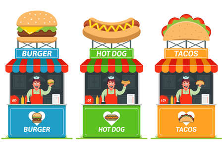 Set of stalls with fast food. Cheerful seller at the kiosk. flat vector illustration.
