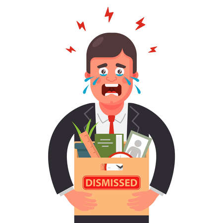 the man was fired from work. he packed all his things in a box and roars. Flat character vector illustration.