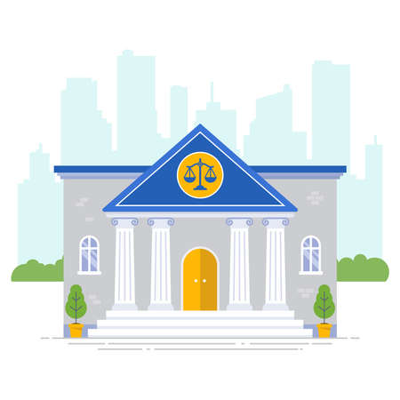 courthouse with scales icon on a city background. flat vector illustration Illustration
