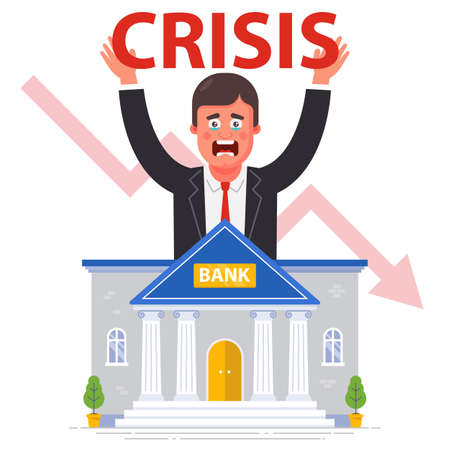 bank bankruptcy against the backdrop of the global financial crisis. flat vector illustration. 矢量图像