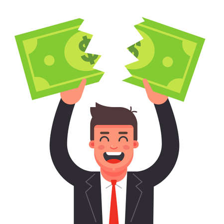 a man in a suit tears a dollar bill. financial crisis. Flat character vector illustration.