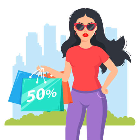 girl bought fashionable clothes. Attractive shopaholic with glasses. flat character vector illustration