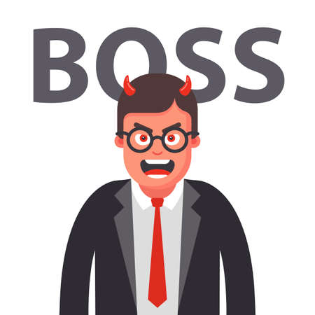 angry boss with horns. displeased face of a man in a suit. Flat character vector illustration. Illustration