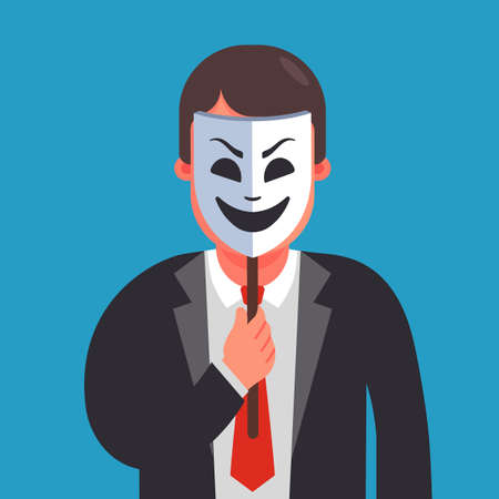 a man hides his identity under a smiling mask. Flat character vector illustration.