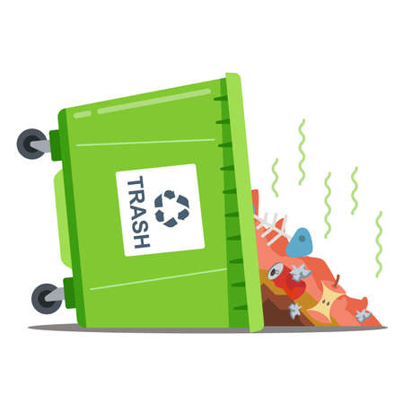 inverted waste bin with stinking waste. flat isolated vector illustration