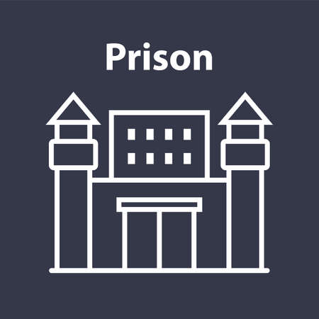 prison building icon with towers on a black background. flat vector illustration.