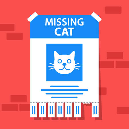 the declaration of the disappearance of a beloved cat. the runaway animal is in danger. flat vector illustration.
