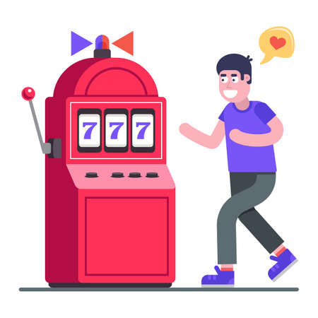 man addicted to gambling slot machines. lover of excitement. Flat character vector illustration.
