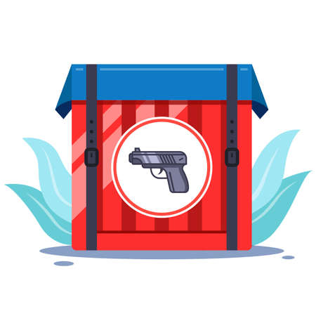 weapon box in the bushes. Shooting online game. flat vector illustration Vectores