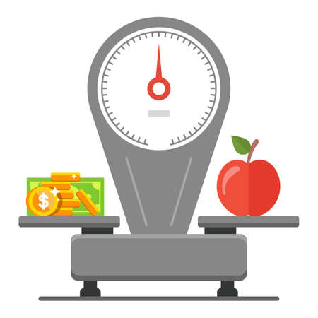 spending money on groceries. balance of price and food. flat vector illustration.