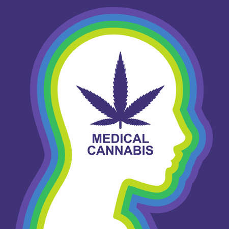 Narcotic effects of marijuana on humans. head in profile with the inscription. flat vector illustration.