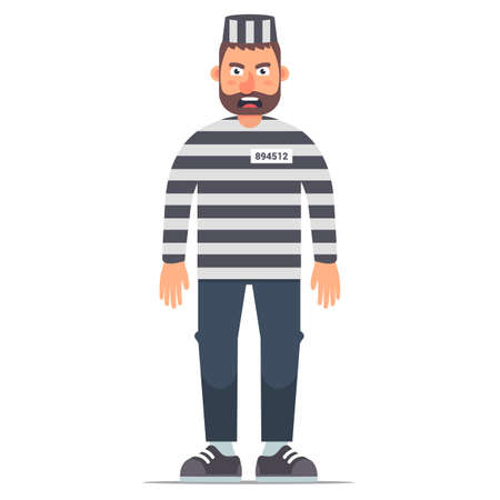 full-length isolated prisoner in striped clothing on a white background. Flat vector illustration of character in prison.
