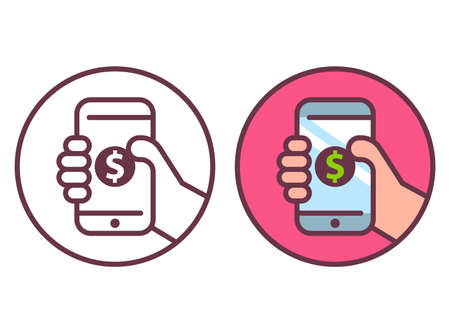 mobile phone icon with dollar coin. flat vector illustration.