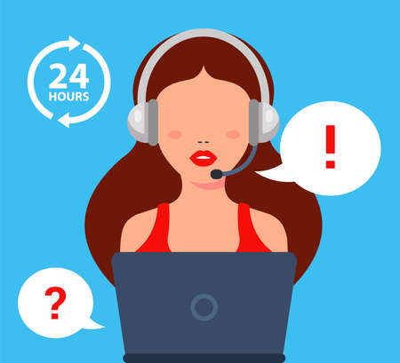 The call center girl answers the client question. Flat character vector illustration. Vektorové ilustrace
