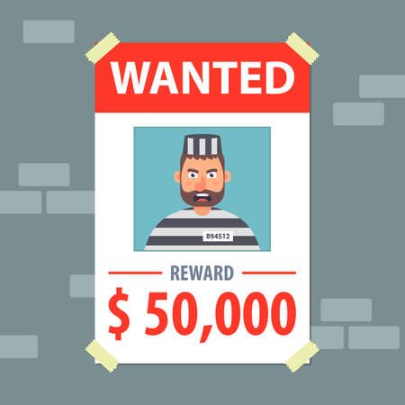wanted flyer. search for a bandit. flat vector illustration. Vectores