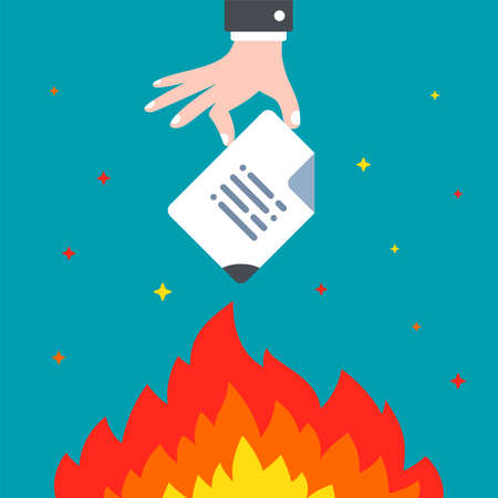 hand sets fire to an important document. destroy information forever. flat vector illustration.