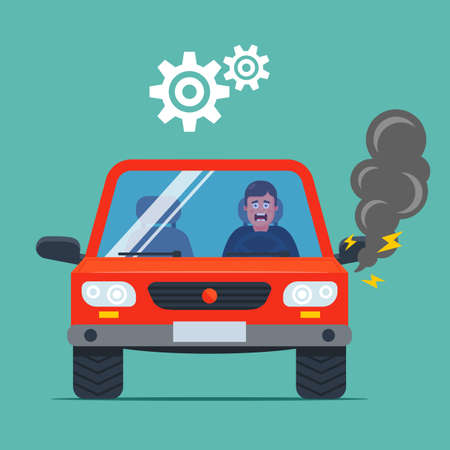 the car broke down and smokes. upset driver. flat vector illustration.
