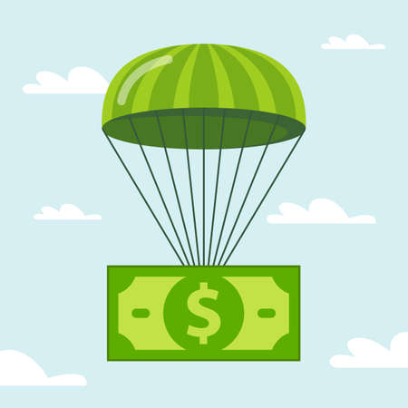 dollar is falling smoothly on a parachute. flat vector illustration.