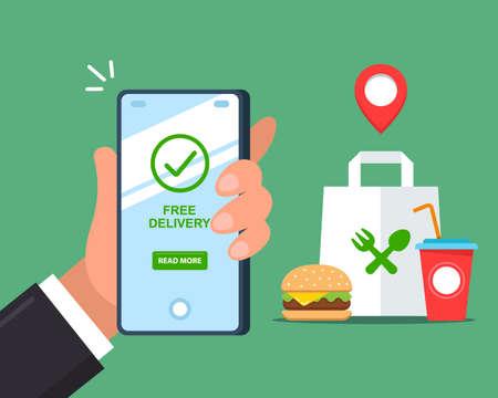 Free fast food delivery via smartphone. flat vector illustration. Ilustración de vector