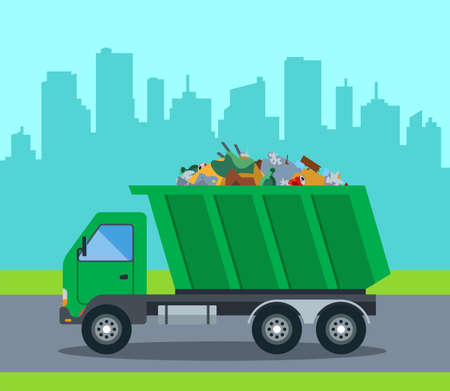 A truck takes out garbage from a city to a landfill. flat vector illustration Stock Illustratie