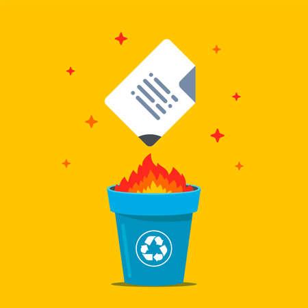burn the document in the bin. destroy data. flat vector illustration.