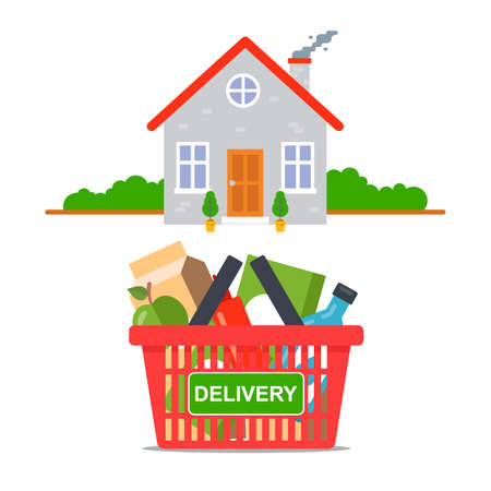 food delivery from the store directly to your home. flat vector illustration Banque d'images - 144135804