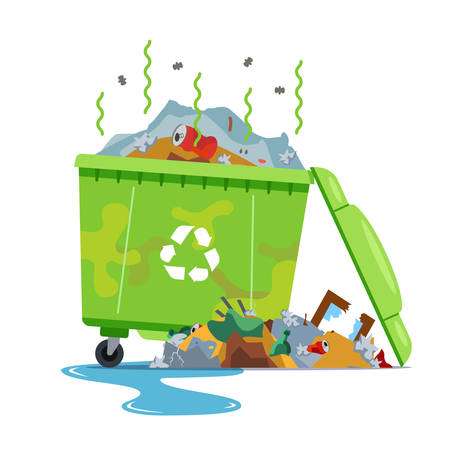 dirty broken dumpster. crowded with waste. Flat vector illustration isolated on white background. Çizim
