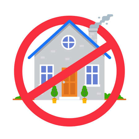 crossed out house symbol. a ban on entering the building. flat vector illustration.