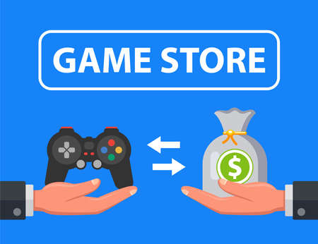 game store selling console for money. flat vector illustration. 向量圖像