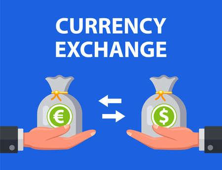 man exchanges dollars for euros. flat vector illustration. Illustration